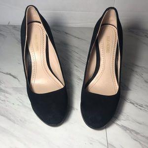 Pour La Victoire Black suede platform heels